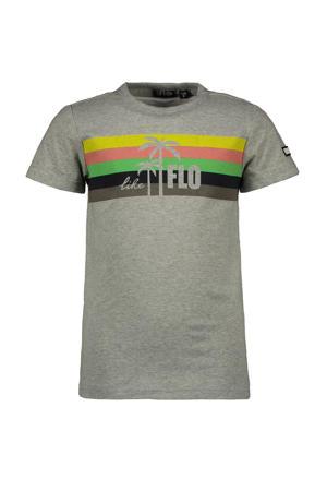 T-shirt met printopdruk grijs melange/multicolor