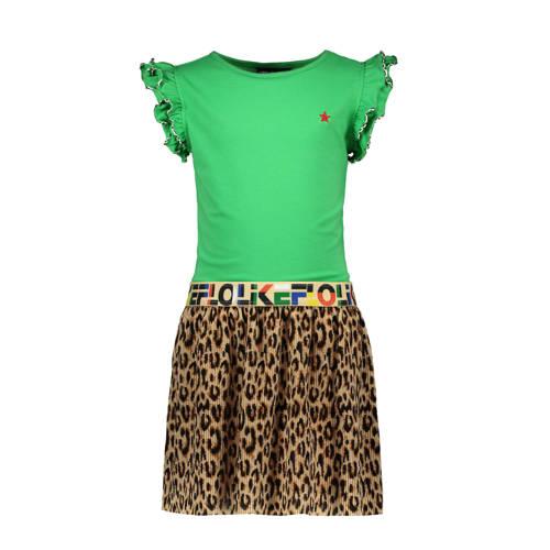 Like Flo jersey jurk met panterprint en ruches gro