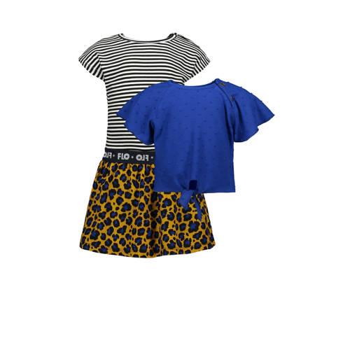 Like Flo baby jurk met losse top kobaltblauw/okerg