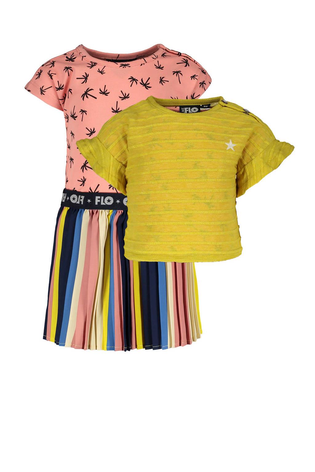 Like Flo baby jurk met losse top geel/roze, Geel/roze/multicolor