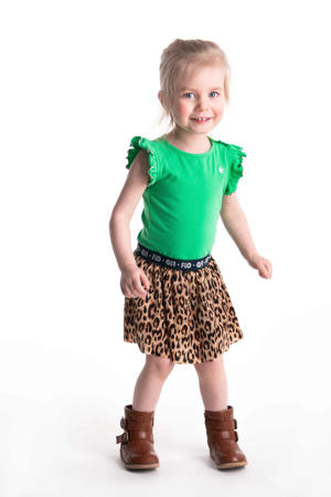 jersey jurk met panterprint en ruches groen/bruin