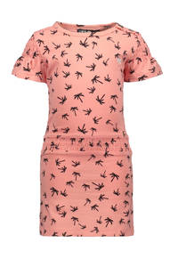 Like Flo jersey jurk met all over print roze/antraciet, Roze/antraciet