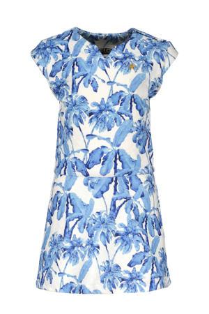 A-lijn jurk met all over print blauw/wit