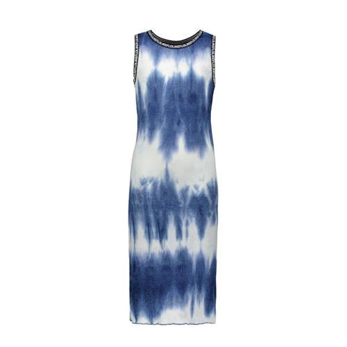 Like Flo jurk met tie-dye dessin blauw/wit