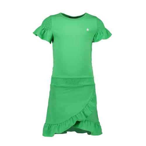 Like Flo jersey jurk en ruches groen