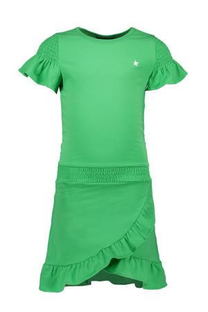 jersey jurk en ruches groen