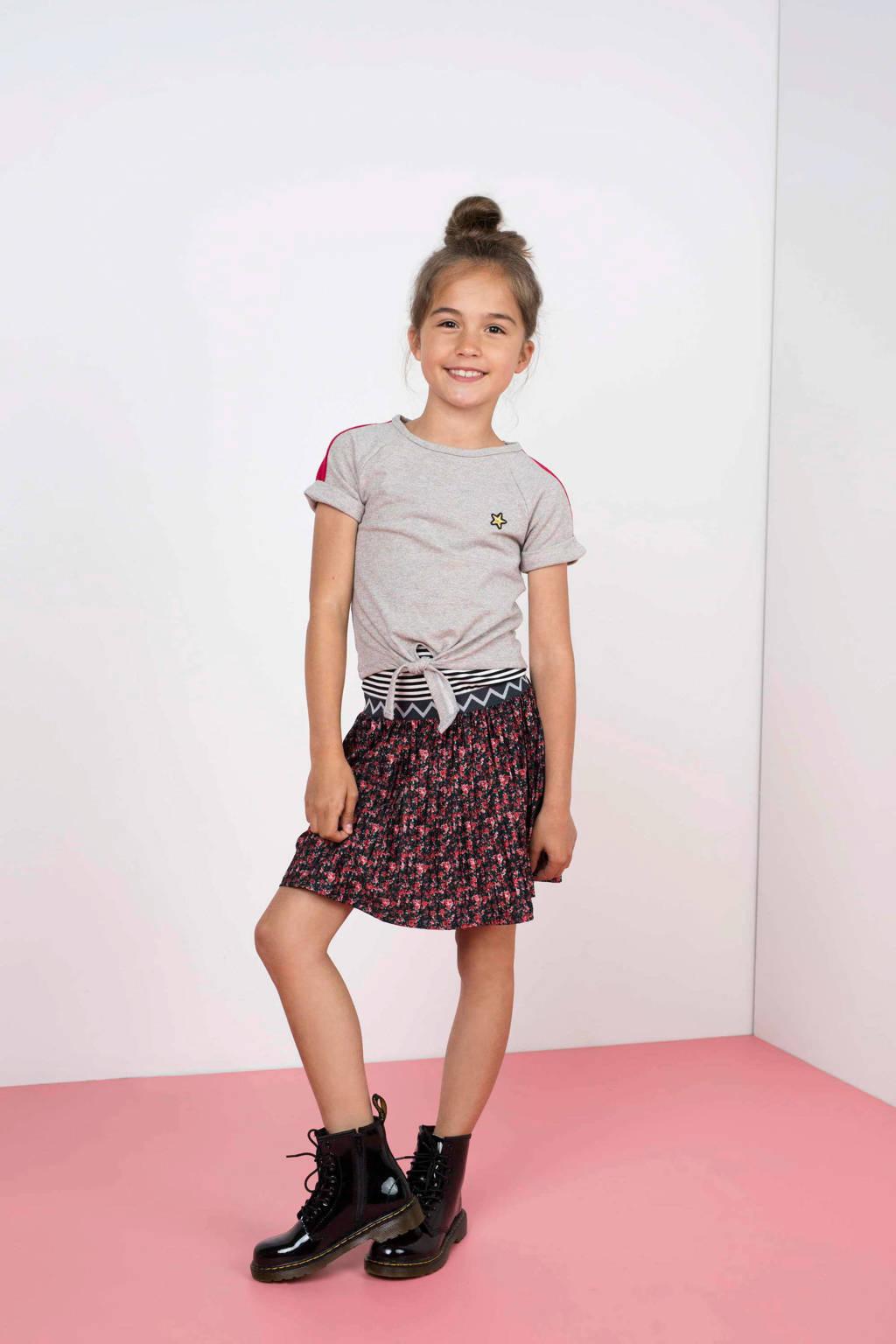 Like Flo jurk met losse top grijs melange/roze/blauw