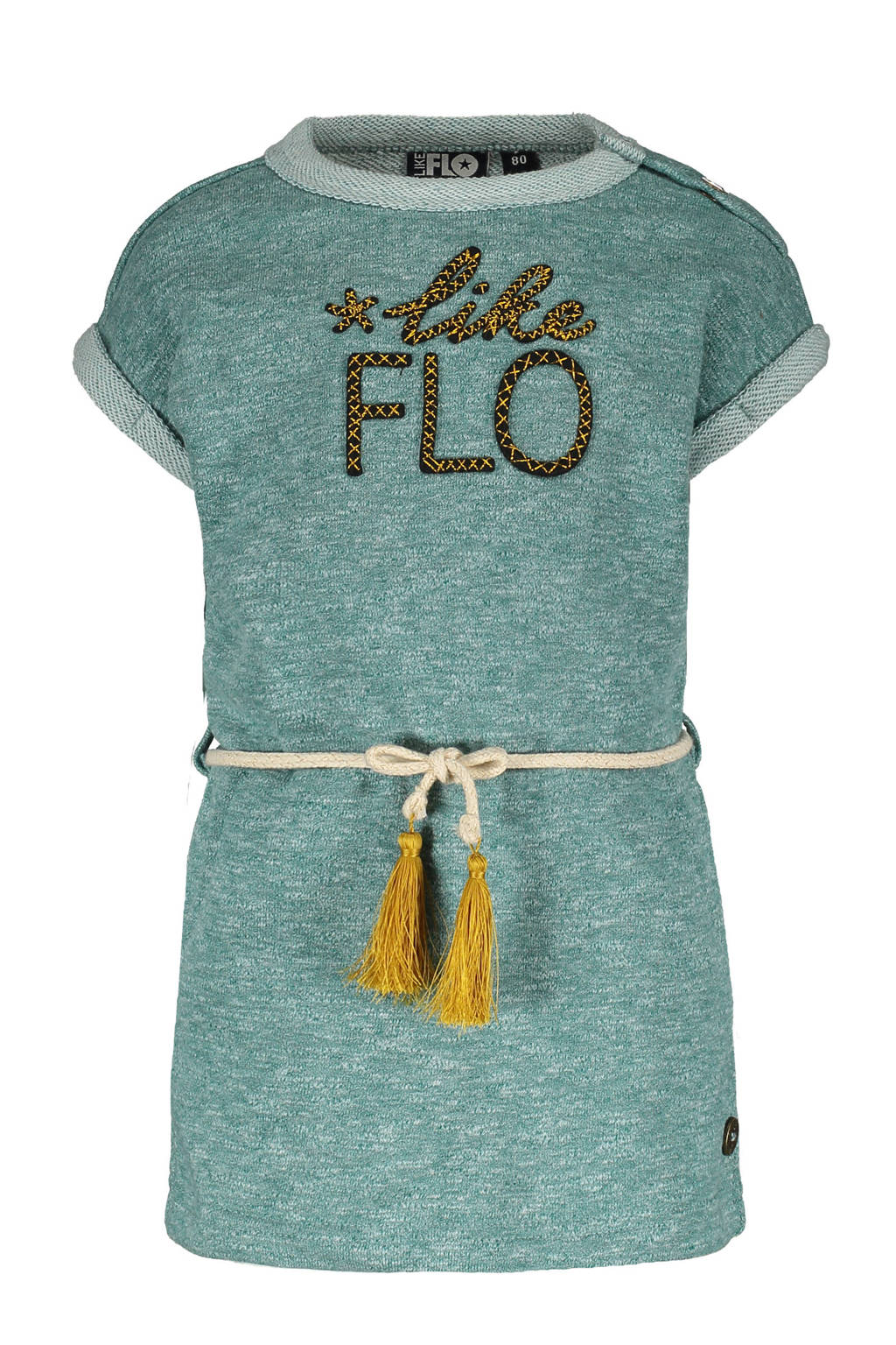 Like Flo jersey jurk met logo turquoise, Turquoise