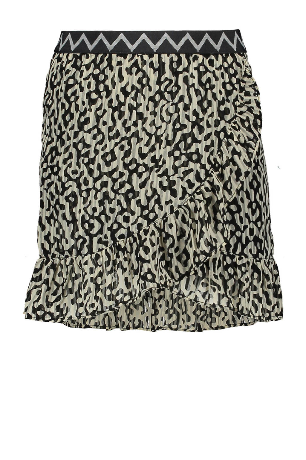 Like Flo rok met panterprint en volant zwart/beige, Zwart/beige