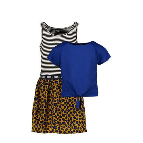 Like Flo jurk met losse top kobaltblauw/okergeel