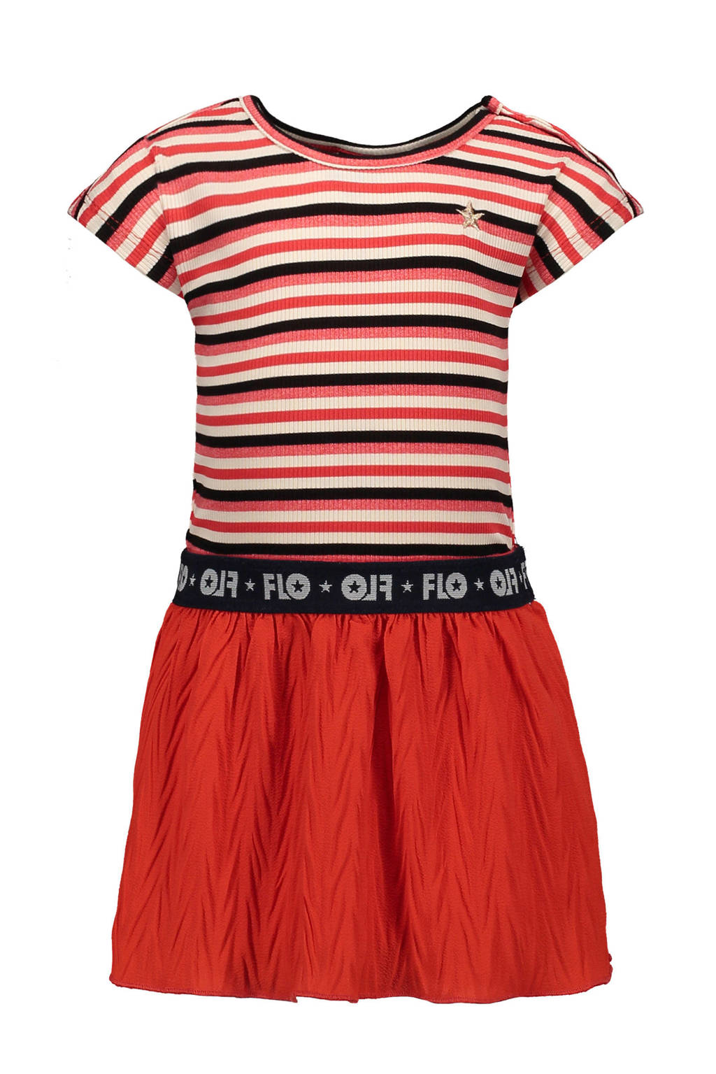 Like Flo gestreepte jurk rood/zwart, Rood/zwart