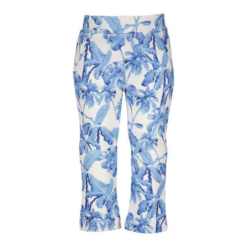 Like Flo flared broek met all over print blauw/wit
