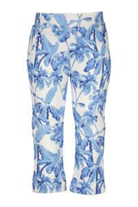 Like Flo flared broek met all over print blauw/wit, Blauw/wit