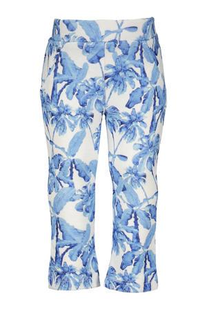 flared broek met all over print blauw/wit