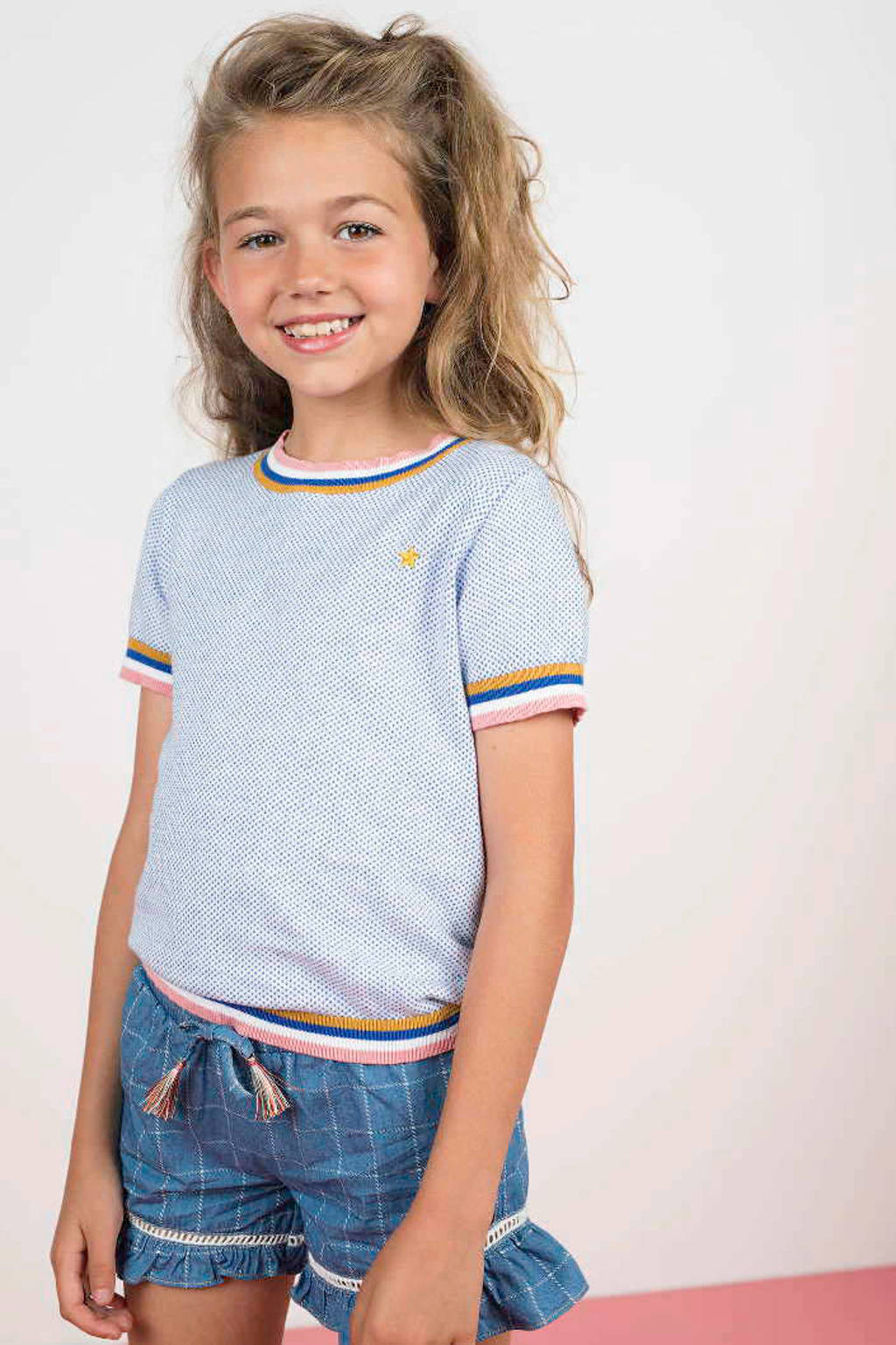 Like Flo geruite regular fit short met zijstreep blauw, Blauw