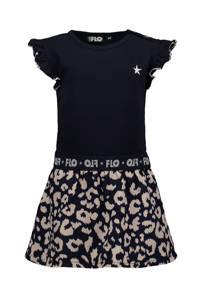 Like Flo jersey jurk met panterprint en ruches marine/beige, Marine/beige