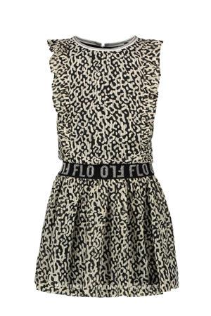 jurk met dierenprint en ruches zwart/beige
