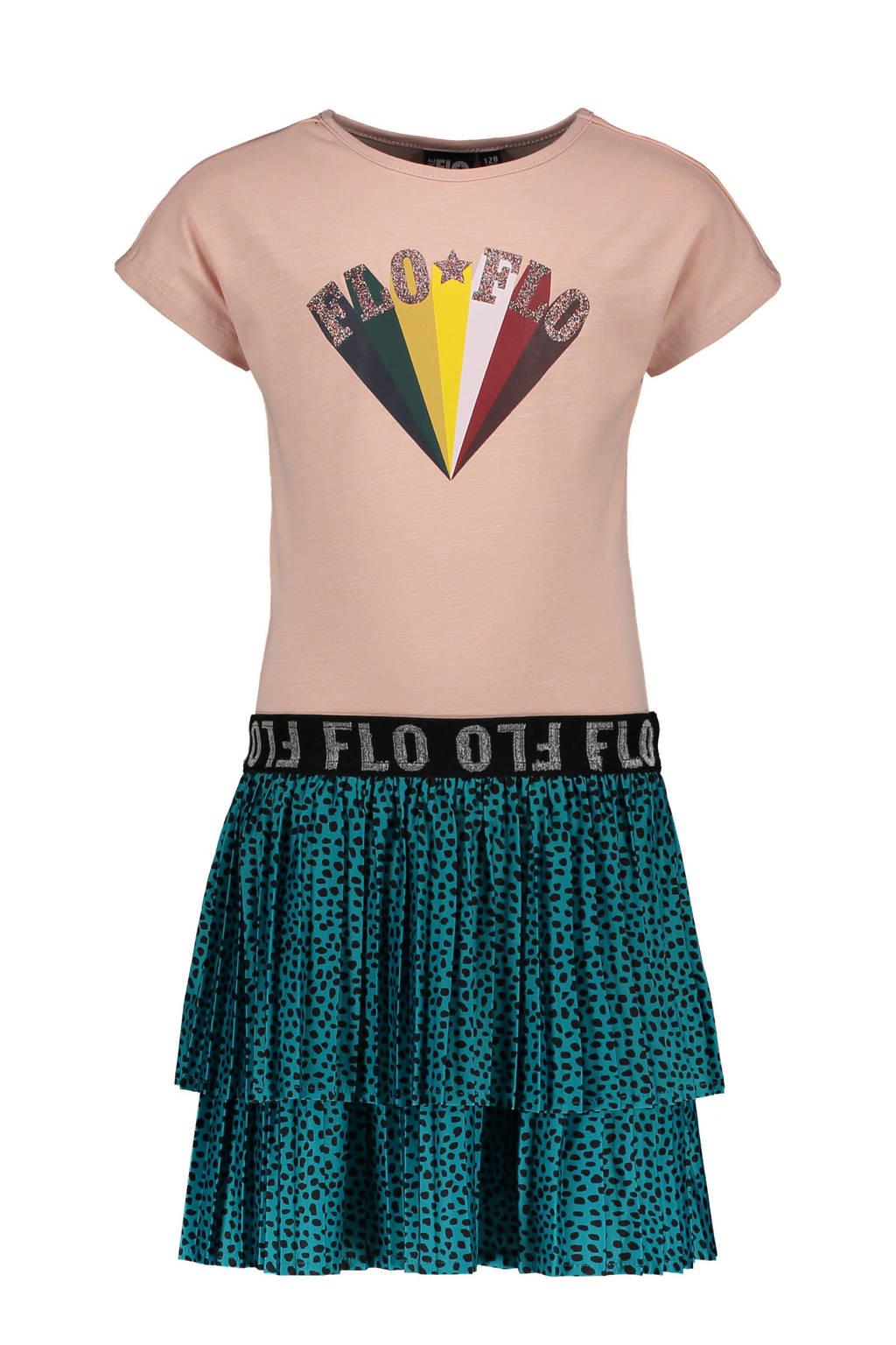 Like Flo jurk met printopdruk en glitters lichtroze/zeegroen, Lichtroze/zeegroen