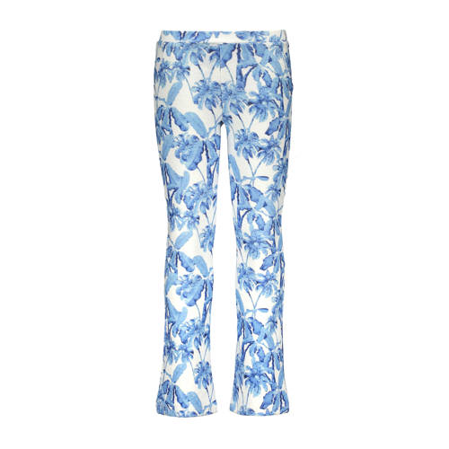 Like Flo flared broek met all over print blauw/ecr