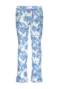Like Flo flared broek met all over print blauw/ecru, Blauw/ecru