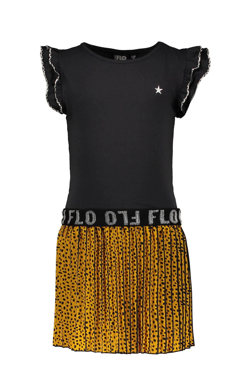 Like Flo jersey jurk met dierenprint en ruches antraciet/okergeel
