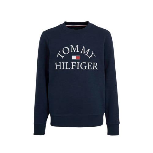 Tommy Hilfiger sweater met logo donkerblauw/wit/ro