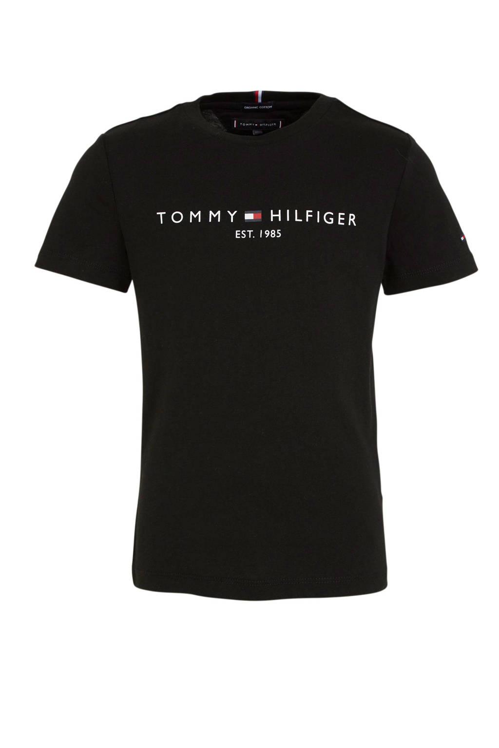 Tommy Hilfiger T-shirt met logo zwart, Zwart