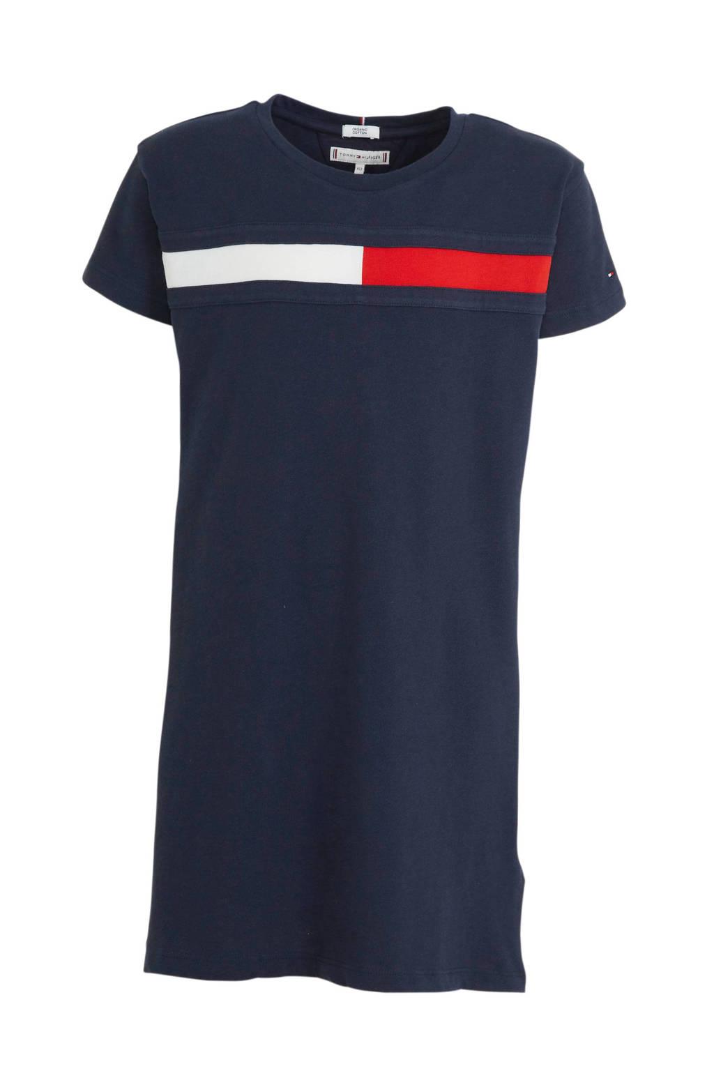 Tommy Hilfiger T-shirtjurk van biologisch katoen marine/wit/rood, Marine/wit/rood