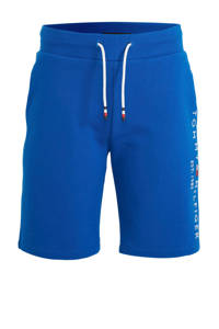 Tommy Hilfiger sweatshort met logoborduursel blauw, Blauw