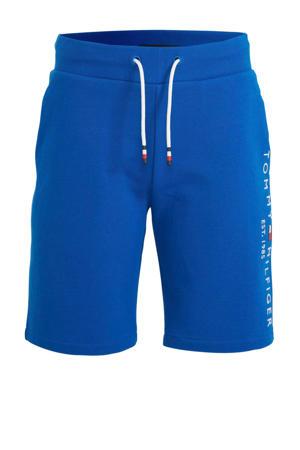 sweatshort met logoborduursel blauw