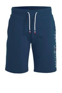 Tommy Hilfiger sweatshort met logoborduursel donkerblauw, Donkerblauw