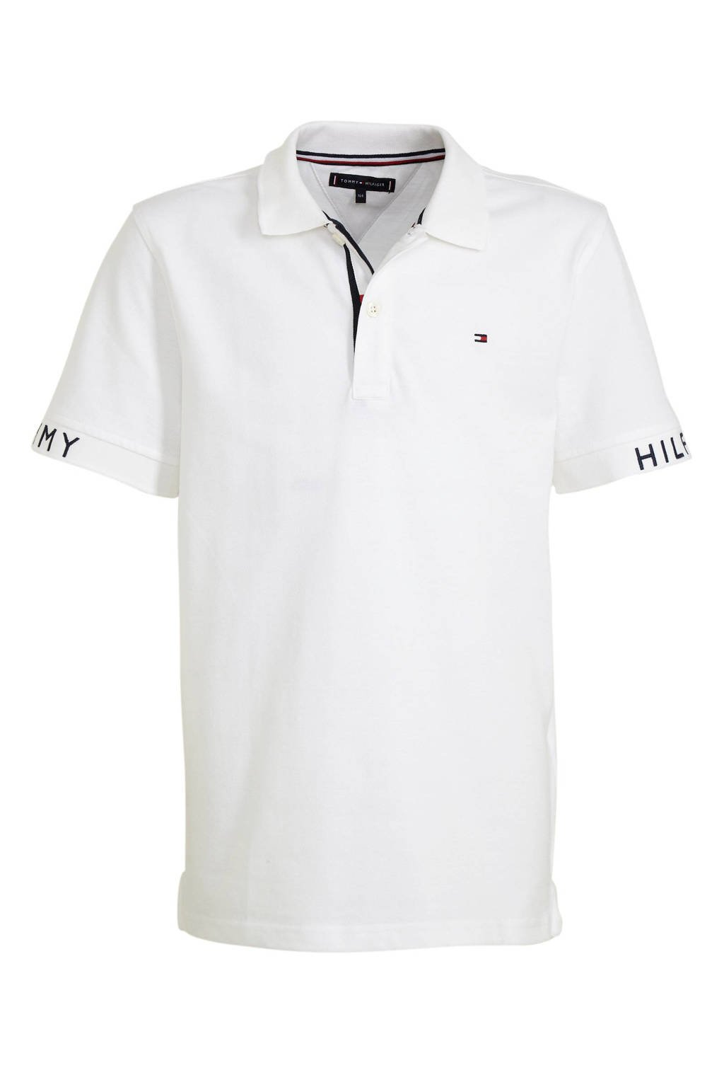Tommy Hilfiger polo met tekst wit/donkerblauw, Wit/donkerblauw