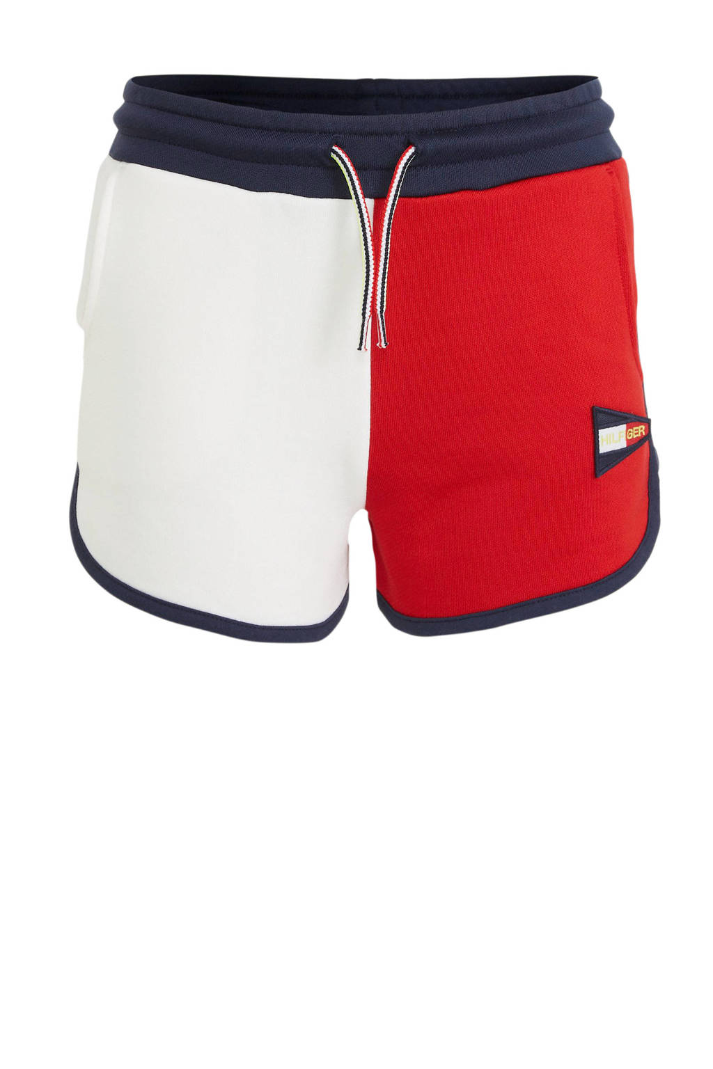 Tommy Hilfiger sweatshort met borduursels rood/donkerblauw/wit, Rood/donkerblauw/wit