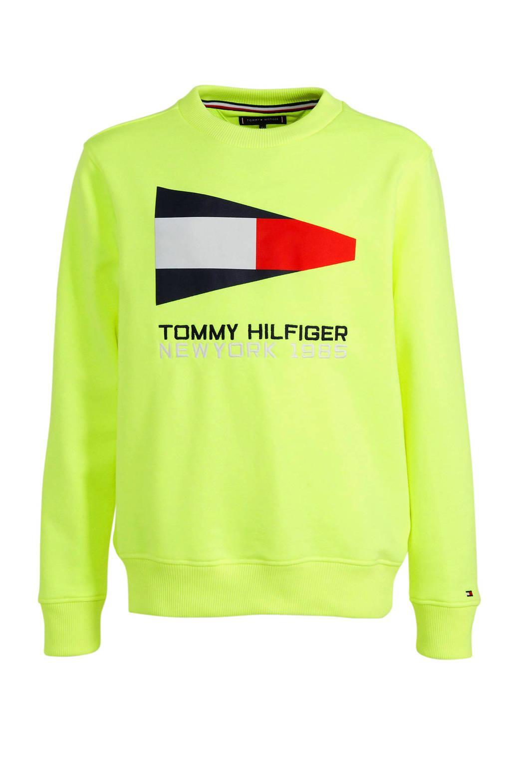 Tommy Hilfiger sweater met logo geel/donkerblauw/rood, Geel/donkerblauw/rood