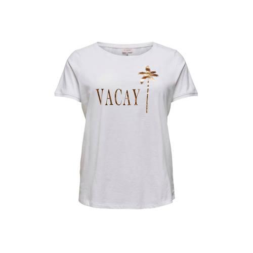 ONLY CARMAKOMA T-shirt met tekst wit