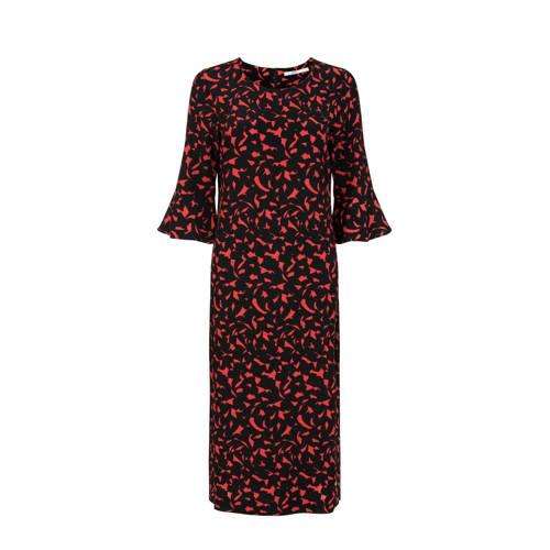 Steps jurk met all over print en volant zwart/rood