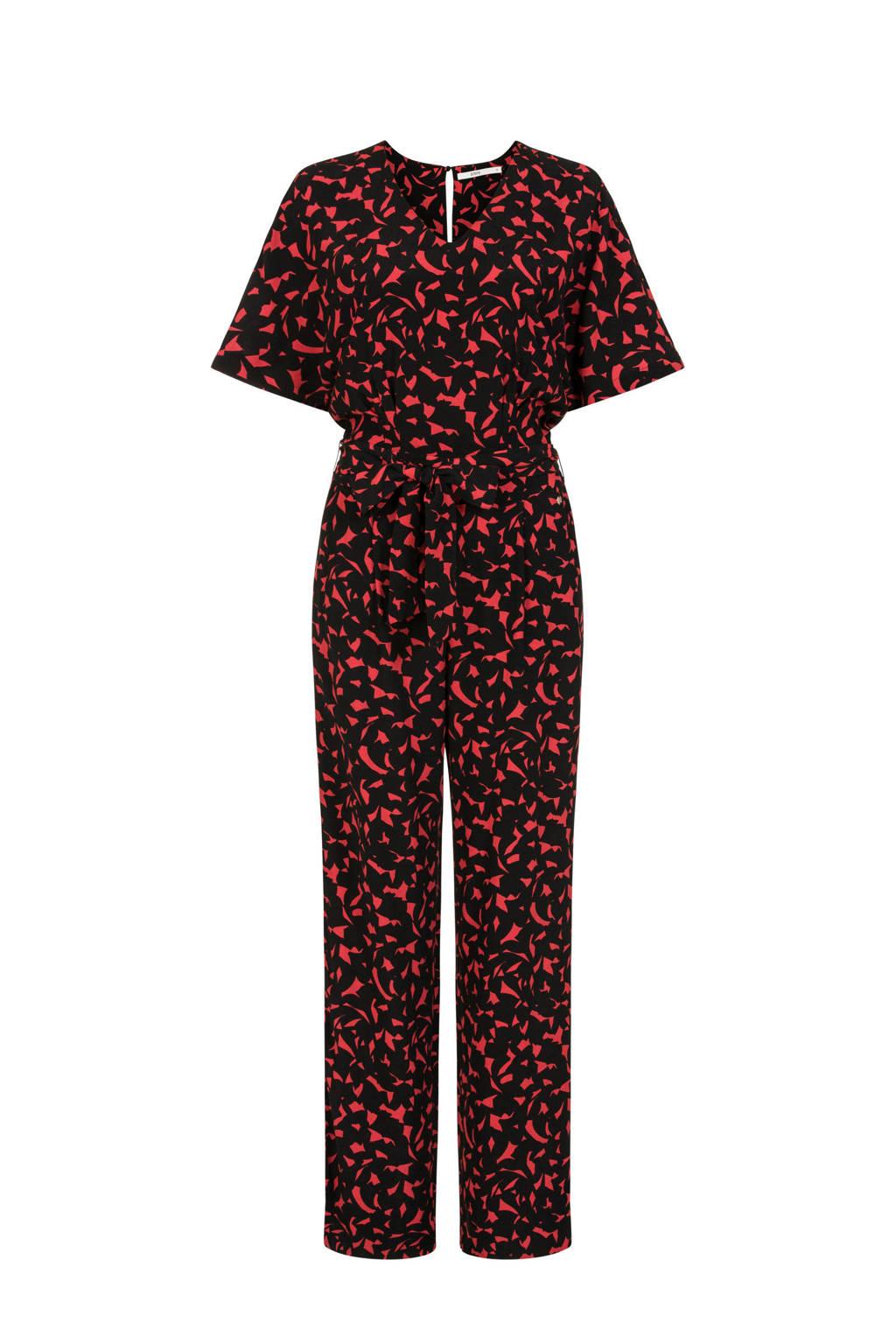 Steps jumpsuit met all over print zwart/rood, Zwart/rood