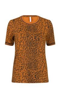 Miss Etam Regulier T-shirt met all over print bruin, Bruin