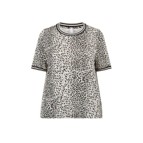 Miss Etam Regulier T-shirt met all over print grij