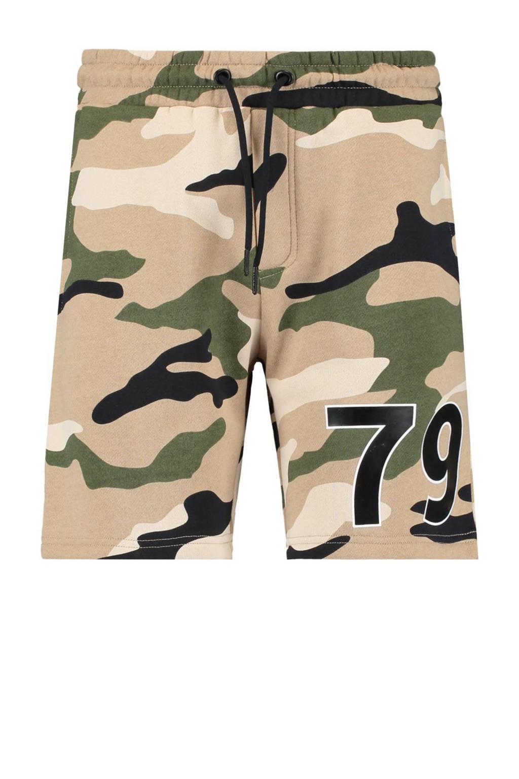 CoolCat Junior regular fit sweatshort Nigel met tekst beige/zwart/olijfgroen, Beige/zwart/olijfgroen