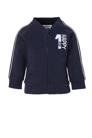 vest met contrastbies donkerblauw/wit/rood