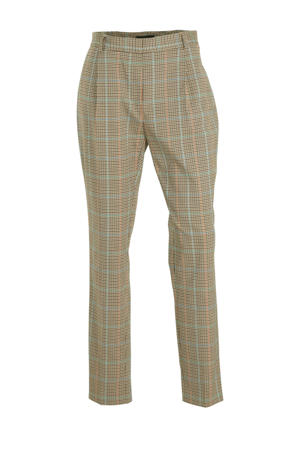 geruite tapered fit pantalon beige