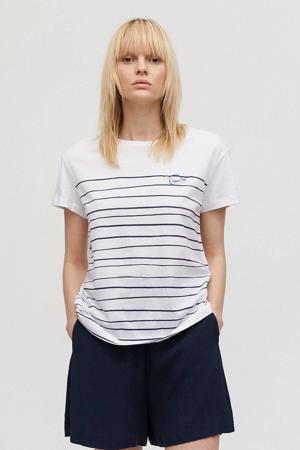 gestreept T-shirt Nelaa Turtle van biologisch katoen wit/ donkerblauw