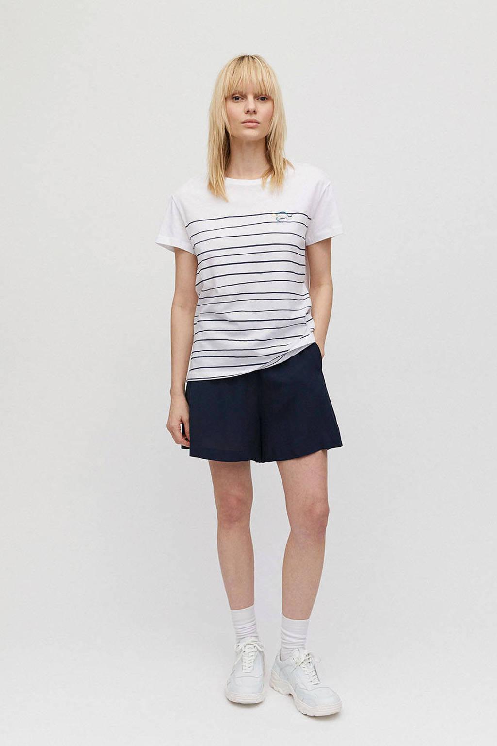 ARMEDANGELS gestreept T-shirt Nelaa Turtle van biologisch katoen wit/ donkerblauw, Wit/ donkerblauw