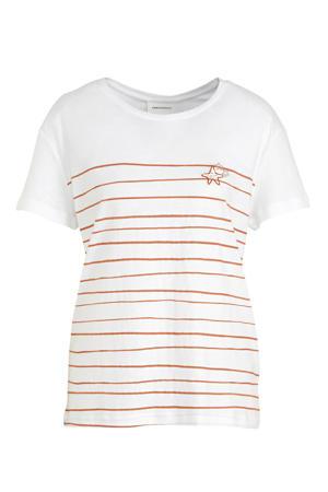 gestreept T-shirt Nelaa Starfish van biologisch katoen wit