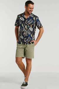 Matinique regular fit overhemd met bladprint donkerblauw/groen/blauw, Donkerblauw/groen/blauw
