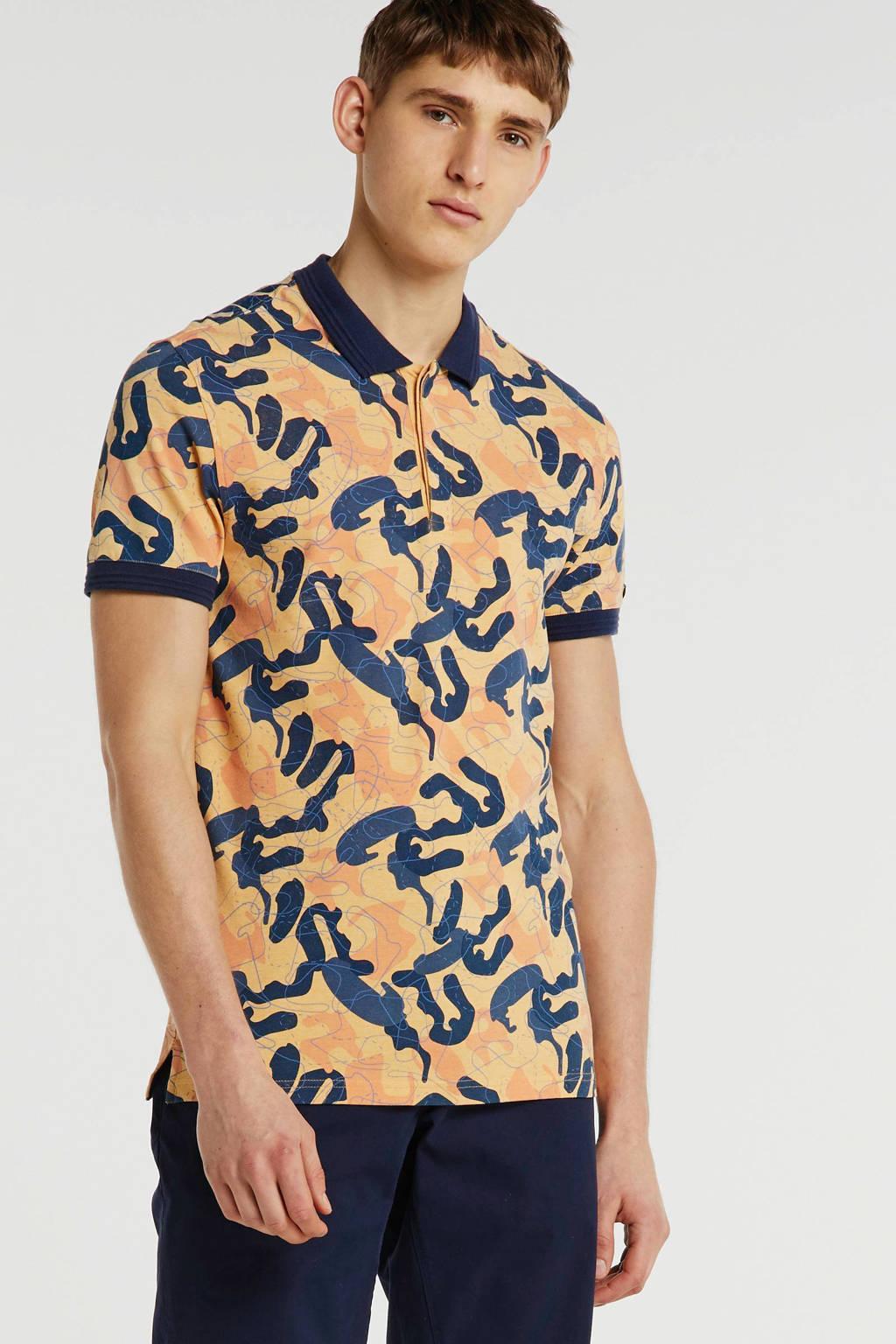 Cast Iron slim fit polo met all over print oranje, Oranje