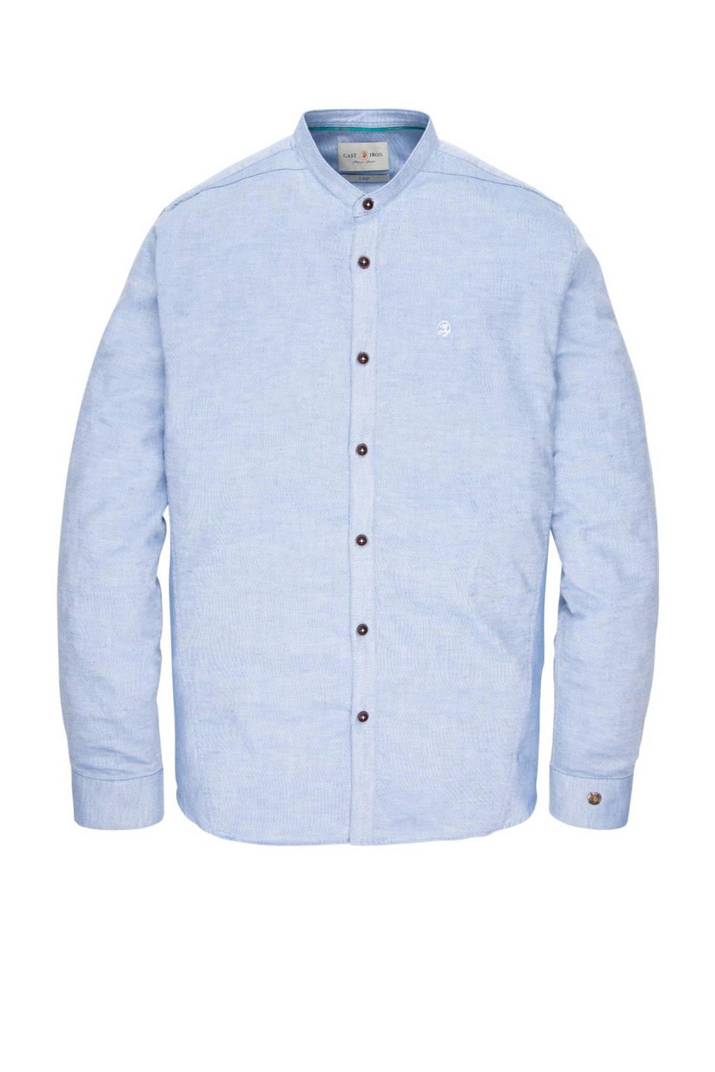 Cast Iron gemêleerd regular fit overhemd met linnen lichtblauw, Lichtblauw
