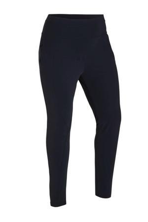 tapered fit broek van travelstof donkerblauw