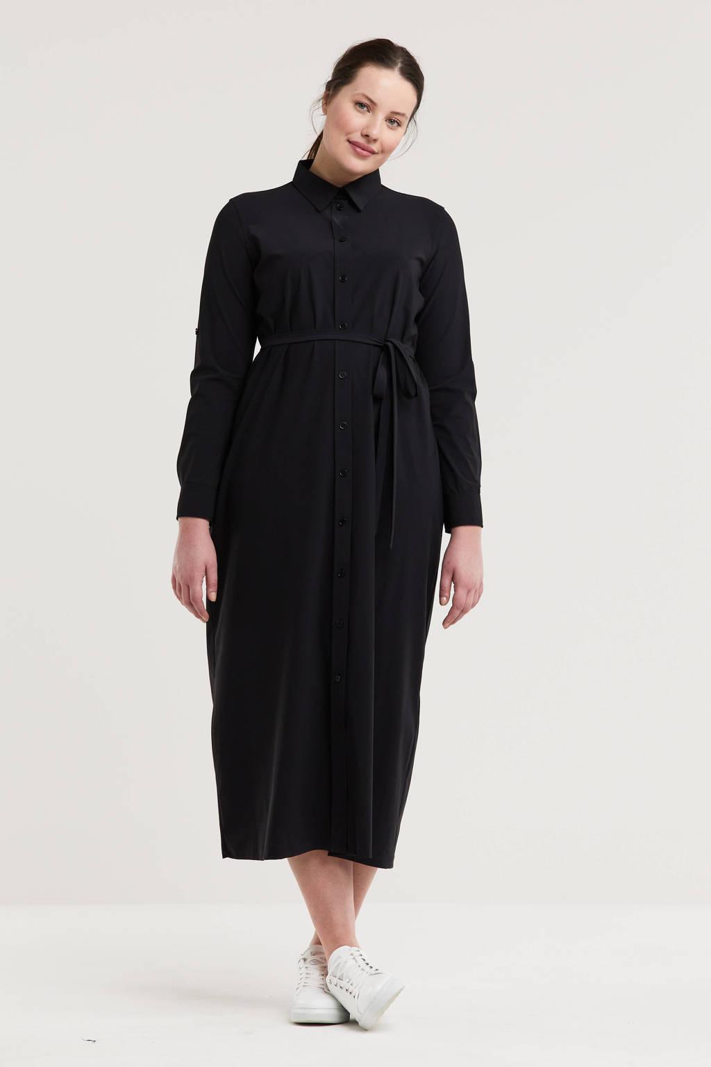 Plus Basics blousejurk van travelstof zwart, Zwart